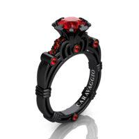 Caravaggio 14K Black Gold 1.0 Ct Ruby Engagement Ring R623-14KBGR