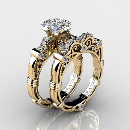 Art-Masters-Caravaggio-14K-Yellow-Gold-1-25-Carat-Princess-White-Sapphire-and-White-Diamond-Engagement-Ring-Wedding-Band-Set-R623PS-14KYGDWS-P