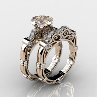 Art Masters Caravaggio 14K Rose Gold 1.25 Ct Princess Champagne and White Diamond Engagement Ring Wedding Band Set R623PS-14KRGDCHD