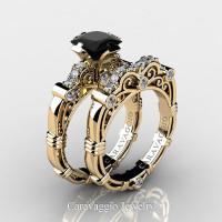Art Masters Caravaggio 14K Yellow Gold 1.25 Ct Princess Black and White Diamond Engagement Ring Wedding Band Set R623PS-14KYGDBD