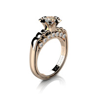Caravaggio Classic 14K Rose Gold 1.0 Ct Champagne and White Diamond Engagement Ring R637-14KRGDCHD