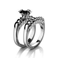 Caravaggio Classic 14K White Gold 1.0 Ct Black and White Diamond Engagement Ring Wedding Band Set R637S-14KWGDBD