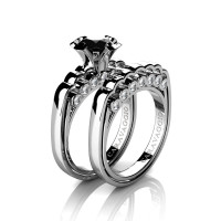 Caravaggio Classic 14K White Gold 1.25 Ct Black and White Diamond Engagement Ring Wedding Band Set R637S-14KWGDNBD