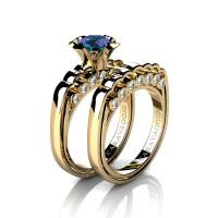 Caravaggio Classic 14K Yellow Gold 1.0 Ct Alexandrite Diamond Engagement Ring Wedding Band Set R637S-14KYGDAL