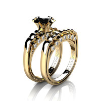 Caravaggio Classic 14K Yellow Gold 1.25 Ct Black and White Diamond Engagement Ring Wedding Band Set R637S-14KYGDNBD