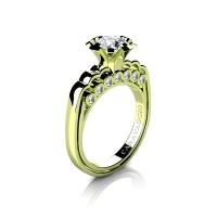 Caravaggio Classic 18K Green Gold 1.0 Ct White Sapphire Diamond Engagement Ring R637-18KGGDWS