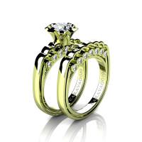 Caravaggio Classic 18K Green Gold 1.0 Ct White Sapphire Diamond Engagement Ring Wedding Band Set R637S-18KGGDWS