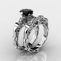 Art Masters Caravaggio 950 Platinum 1.25 Ct Princess Black and White Diamond Engagement Ring Wedding Band Set R623PS-PLATDBD