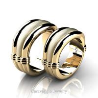 Caravaggio Classic 14K White Gold Wedding Ring Set R2001S-14KWGS