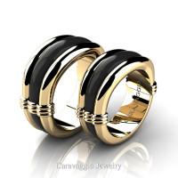 Caravaggio Classic 14K Yellow and Black Gold Wedding Ring Set R2001S-14KYBG