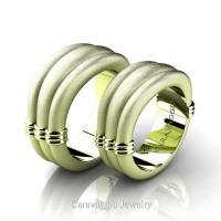 Caravaggio Classic 18K Matte Green Gold Wedding Ring Set R2001S-18KGGSS