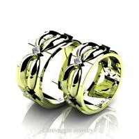 Caravaggio Romance 18K Green Gold Princess Diamond Wedding Ring Set R683S-18KGGD