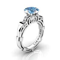 Art Masters Caravaggio 950 Platinum 1.25 Ct Princess Blue Topaz Diamond Engagement Ring R623P-PLATDBT