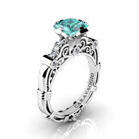 Art Masters Caravaggio 950 Platinum 1.25 Ct Princess Blue and White Diamond Engagement Ring R623P-PLATDBLD