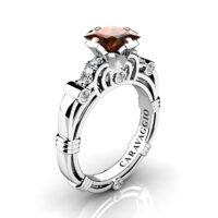 Art Masters Caravaggio 950 Platinum 1.25 Ct Princess Brown and White Diamond Engagement Ring R623P-PLATDBRD