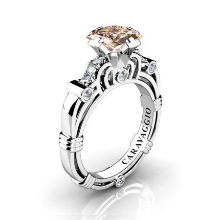 Art-Masters-Caravaggio-950-Platinum-1-25-Ct-Princess-Champagne-White-Diamond-Engagement-Ring-R623P-PLATDCHD-P