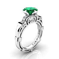 Art Masters Caravaggio 950 Platinum 1.25 Ct Princess Emerald Diamond Engagement Ring R623P-PLATDEM
