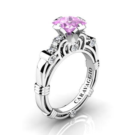 Art-Masters-Caravaggio-950-Platinum-1-25-Ct-Princess-Light-Pink-Sapphire-Diamond-Engagement-Ring-R623P-PLATDLPS-P