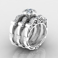 Art Masters Caravaggio Trio 14K Ceramic White Gold 1.0 Ct White Sapphire White Diamond Engagement Ring Wedding Band Set R623S3-14KCWGDWS