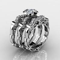 Art Masters Caravaggio Trio 14K White Gold 1.0 Ct White Sapphire White Diamond Engagement Ring Wedding Band Set R623S3-14KWGDWS