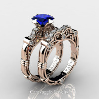 Art Masters Caravaggio 14K Rose Gold 1.25 Ct Princess Blue Sapphire Diamond Engagement Ring Wedding Band Set R623PS-14KRGDBS