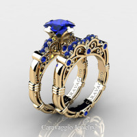 Art Masters Caravaggio 14K Yellow Gold 1.25 Ct Princess Blue Sapphire Engagement Ring Wedding Band Set R623PS-14KYGBS