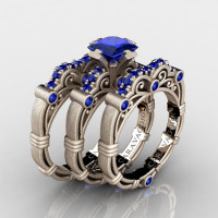 Art Masters Caravaggio Trio 14K Matte Rose Gold 1.25 Ct Princess Blue Sapphire Engagement Ring Wedding Band Set R623PS3-14KMRGBS