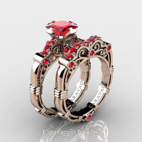 Art Masters Caravaggio 14K Rose Gold 1.25 Ct Princess Ruby Engagement Ring Wedding Band Set R623PS-14KRGR