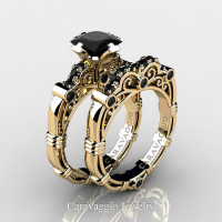 Art Masters Caravaggio 14K Yellow Gold 1.25 Ct Princess Black Sapphire Engagement Ring Wedding Band Set R623PS-14KYGBLS