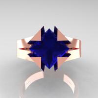 Neomodern 14K Rose Gold 2.0 CT Princess Blue Sapphire Engagement Ring R489-14KRGBS