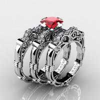 Art Masters Caravaggio Trio 14K White Gold 1.25 Ct Princess Ruby Diamond Engagement Ring Wedding Band Set R623PS3-14KWGDR