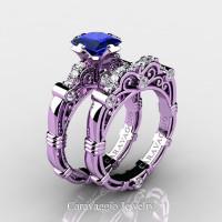 Art Masters Caravaggio 14K Lilac Gold 1.25 Ct Princess Blue Sapphire Diamond Engagement Ring Wedding Band Set R623PS-14KLGDBS