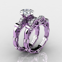 Art Masters Caravaggio 14K Lilac Gold 1.25 Ct Princess White Sapphire Diamond Engagement Ring Wedding Band Set R623PS-14KLGDWS