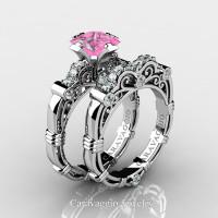 Art Masters Caravaggio 950 Platinum 1.25 Ct Princess Light Pink Sapphire Diamond Engagement Ring Wedding Band Set R623PS-PLATDLPS