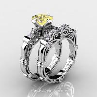 Art Masters Caravaggio 950 Platinum 1.25 Ct Princess Yellow Topaz Diamond Engagement Ring Wedding Band Set R623PS-PLATDYT