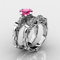 Art Masters Caravaggio 950 Platinum 1.25 Ct Princess Pink Sapphire Diamond Engagement Ring Wedding Band Set R623PS-PLATDPS