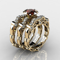 Art Masters Caravaggio Trio 14K Yellow Gold 1.0 Ct Brown and White Diamond Engagement Ring Wedding Band Set R623S3-14KYGDBRD