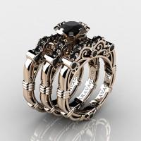 Art Masters Caravaggio Trio 14K Rose Gold 1.0 Ct Black Sapphire Engagement Ring Wedding Band Set R623S3-14KRGBLS