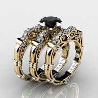 Art Masters Caravaggio Trio 14K Yellow Gold 1.25 Ct Princess Black Sapphire Diamond Engagement Ring Wedding Band Set R623PS3-14KYGDBLS