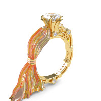 Caravaggio Ready to Wear Kimberly 14K Silk Yellow Gold 1.0 Ct White Sapphire Engagement Ring R643E-14KTTSYGWS