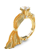 Caravaggio Ready to Wear Kimberly 14K Silk Yellow Gold 1.0 Ct White Sapphire Engagement Ring R643E-14KSYGWS