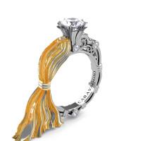 Caravaggio Ready to Wear Kimberly 14K Silk White Gold 1.0 Ct White Sapphire Engagement Ring R643E-14KTTSWGWS
