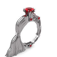 Caravaggio Jewels Venus 950 Platinum 1.0 Ct Ruby Engagement Ring R643E-PLATR