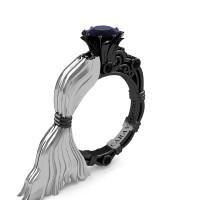 Caravaggio Luxury Italian 14K White and Black Gold 1.0 Ct Black Diamond Engagement Ring R643E-14KWBGBD