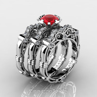 Art Masters Caravaggio Trio 950 Platinum 1.0 Ct Ruby Diamond Engagement Ring Wedding Band Set R623S3-PLATDR
