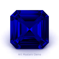 Art Masters Gems Standard 1.5 Ct Asscher Blue Sapphire Created Gemstone ACG150-BS