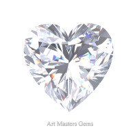 Art Masters Gems Standard 1.5 Ct Heart White Sapphire Created Gemstone HCG150-WS