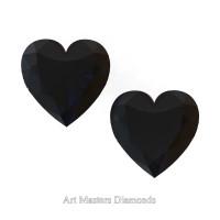 Art Masters Gems Set of Two Standard 0.75 Ct Heart Black Diamond Zirconium Created Gemstones HCG075S-BD