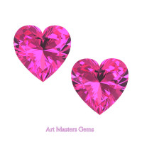 Art Masters Gems Set of Two Standard 0.75 Ct Heart Pink Sapphire Created Gemstones HCG075S-PS