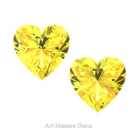 Art Masters Gems Set of Two Standard 0.75 Ct Heart Yellow Sapphire Created Gemstones HCG075S-YS